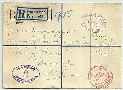 1930  Registered Buckingham Palace - Treasurer To The King Cover - Lord Steward
