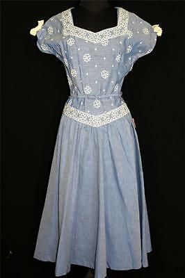 Rare Vintage Deadstock Never Worn 1950's Blue Cotton Embroidered Dress Size 6+