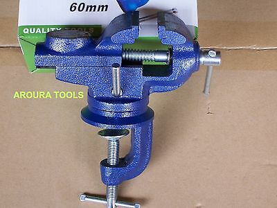 VICE 65mm STEEL WITH TABLE CLAMP SWIVEL BASE AND ANVIL- NEW IN BOX