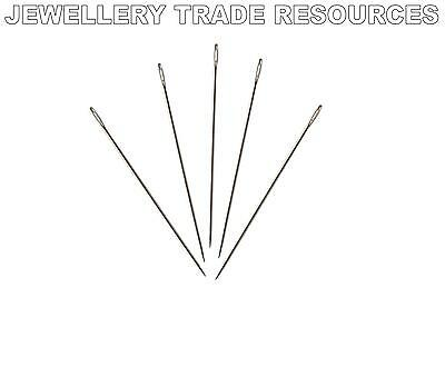 5 x Beading Needles for Stringing & Threading Beads & Pearls 0.36mm Size 12