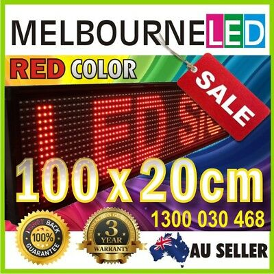 "SCROLLING PROGRAMMABLE LED  RED COLOR MESSAGE BOARD SIGN 39.4""x7.9"" inch"