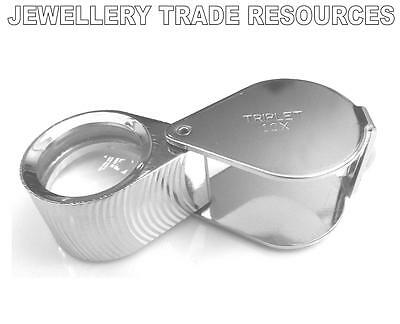 JEWELLERS MAGNIFIER LOUPE EYEGLASS 21mm TRIPLET 10x LENS MAGNIFYING EYE GLASS