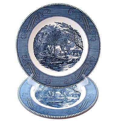 Royal Currier And Ives Blue Dinner Plates Blue Scene In Center And Scrolls Two