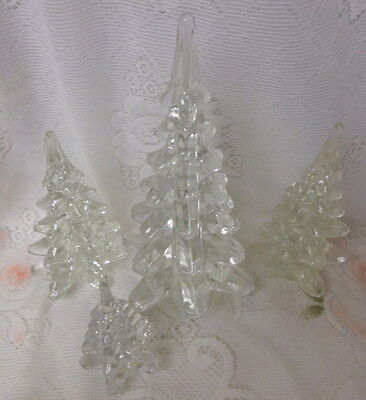 Vintage Clear Crystal Solid Art Glass Christmas Trees Set of 4