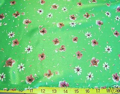 """1-2/3 yards - GREEN FLORAL CHARMEUSE SATIN DRESS FABRIC 44"""" WIDE"""