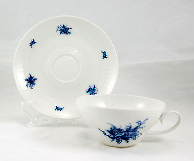 Rosenthal RHAPSODY 31250 Flat Cup and Saucer Set 2.875 in. Blue Roses Embossed