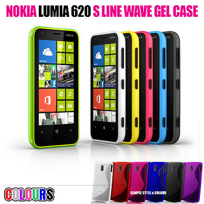 S LINE WAVE SOFT GEL SKIN CASE SCREEN PROTECTOR FOR NOKIA LUMIA 620