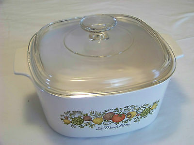 Corning Ware: SPICE OF LIFE - A-3-B 3 Liter CASSEROLE w/ PYREX LID A-9-C