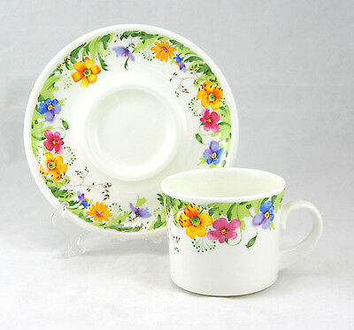 Mikasa Ultra Ceram COUNTRY GARDEN A9002 Flat Cup and Saucer Set 2.75 in. Flowers