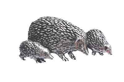 HEDGEHOG FAMILY Hand Made in UK Pewter Lapel Pin Badge