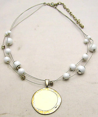 "Vintage 16+3"" 1mm Triple Wire Necklace w/White Beads & Round Pendant Silver Tone"