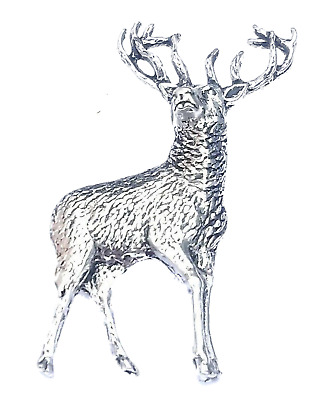 STANDING STAG Hand Made in UK Pewter Lapel Pin Badge