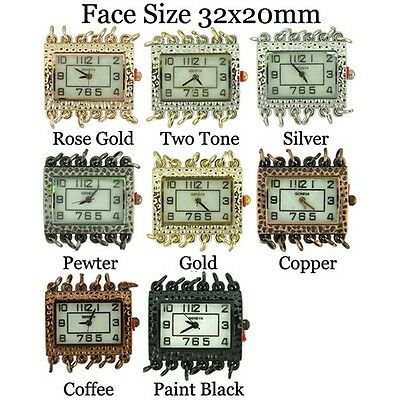 NEW WHOLESALE SIX LOOPS DENTED SQUARE PEARL BEADING FASHION WATCH FACE USA