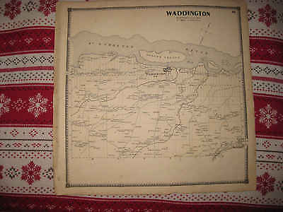 Antique 1865 Waddington St Lawrence County New York Handcolored Map W Islands Nr