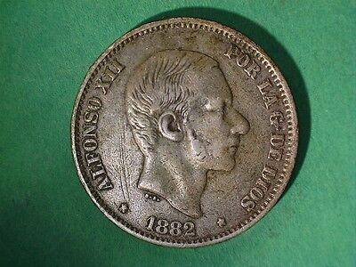Spain Philippines 50 Centavos Alfonso Xii 1882 #804 Better Date