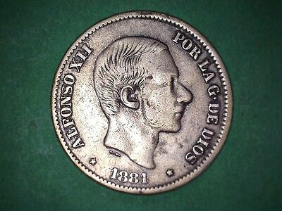 Spain Philippines 50 Centavos Alfonso Xii 1881 #47 Better Date