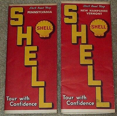 Pair 1930s SHELL road maps - Pennsylvania & New Hampshire/Vermont