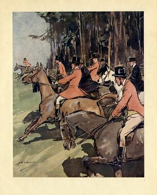 Horses And Red Coat Sportsmen Hunt Fox, Decorative Color Hunting Print, Huntsmen