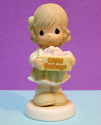 Precious Moments Girl Holding Care Package Of Hearts ~ Give  Anything But Love