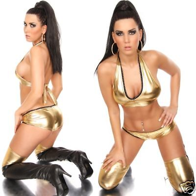WoW sexy GoGo HotPants Latex-Leder-Look gold 34/36/38 Neu