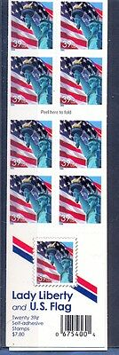 Usa - 39 Cent Lady Of Liberty U.s Flag 20 Stamp Booklet Self Adhesive