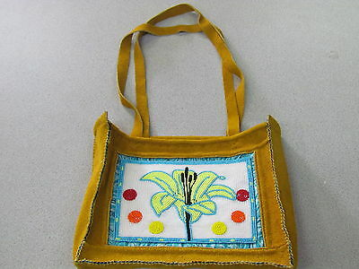 Native American, Tanned Moose Hied Hand Bag,purse, Gorgeous Beaded Green Flower