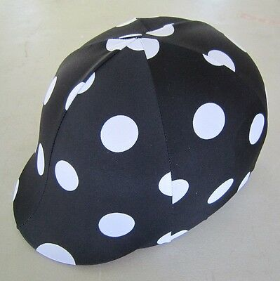 Horse Helmet Cover AUSTRALIAN MADE Black with white dots print Choose your size