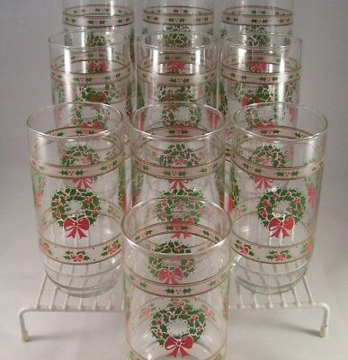 Vintage Indiana Glass Victorian Christmas 10 Coolers Tumblers MIB Glassware USA