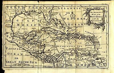 1762 Accurate Map Of The West Indies And United States Coast, Florida, Louisiana