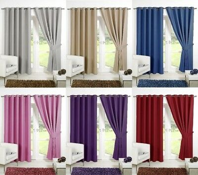 Supersoft Blackout Thermal Curtains In Eyelet / Ring Top + Free Tie Backs