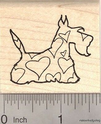 Valentine's Day Scottish Terrier Dog Rubber Stamp, with Heart Shapes E20211 WM