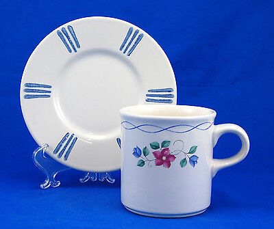 Pfaltzgraff BONNIE BRAE Flat Cup and Saucer Set 3.25 in. Pink Blue Flowers Lines