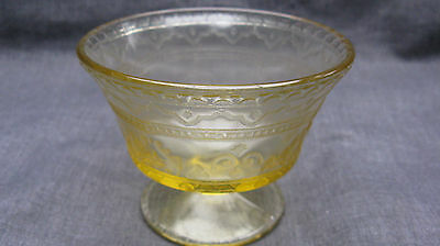 Vintage 1933 Amber Depression Glass Patrician Spoke Sherbet, Mint