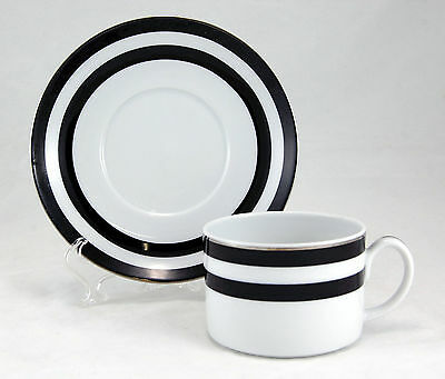 Ralph Lauren SPECTATOR BLACK Flat Cup and Saucer Set 2.25 in. Black White Bands