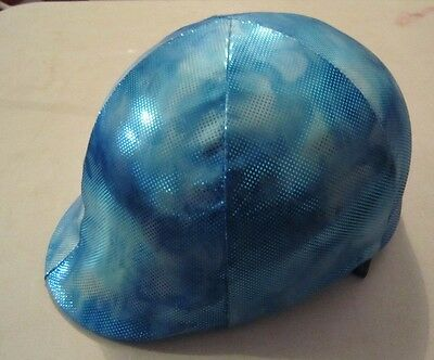 Horse Helmet Cover AUSTRALIAN MADE Blue Marble with sparkles Choose your size