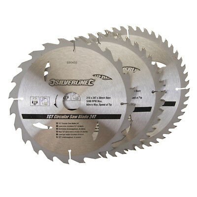 "3 x 210mm (8 1/4"") TCT Circular Saw Blades 30mm Bore 16 & 25 mm Reduction Rings"