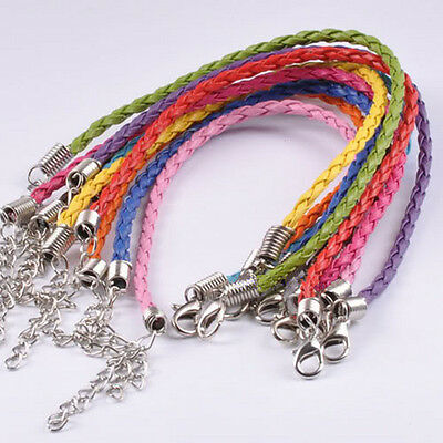 """Braided Leather Bracelet Set Mixed Colors 7.5"""" Jewelry Lot of 10"""