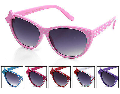 Youth Girls Cat Eye Polka Dot Sunglasses with Bow Accent and Gradient Lens