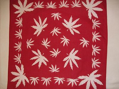 New CANNABIS LEAF DESIGN Red & White Bandana