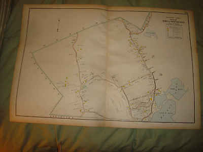 Huge Antique 1906 Winchester Middlesex County Massachusetts Map Winter Pond Fine