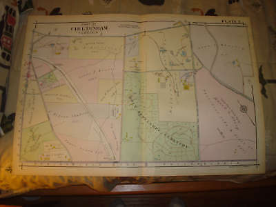 Cheltenham Township Pennsylvania Antique Handclr Map Holy Sepulchre Cemetery Nr