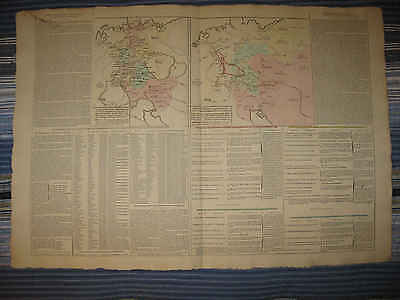 Huge Gorgeous Antique 1802 Germany Prussia Handcolored Political French Map Nr