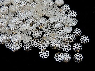 200 x Silver Plated 6mm Bead Caps Jewellery Craft Findings Beading C31