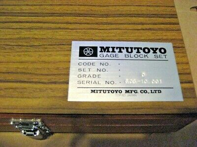 Mitutoyo 485608S 9Pc Gage Block Set (Aa8309-1)