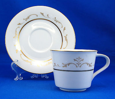 Noritake JACQUELINE 6670 Flat Cup and Saucer Set 2.75 in. Scrolls Gold Trim