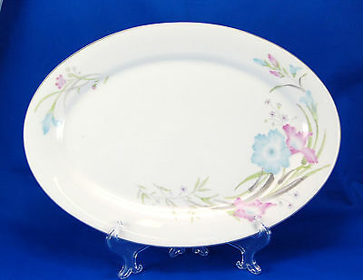 Fortune Fine China Oval Serving Platter 14.125 in. Pink Blue Flowers Made China