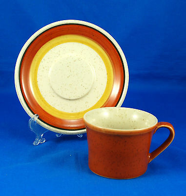 Imperial By W Dalton TANGERINE P9261 Flat Cup and Saucer Set 2.625 in. Japan