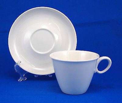 Franciscan Whitestone Ware CLOUD NINE Flat Cup and Saucer Set 2.75 in. All White