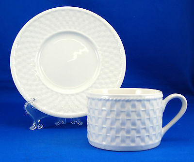 Oneida Casual Settings BASKET WEAVE Flat Cup and Saucer Set 2.375 in. Embossed