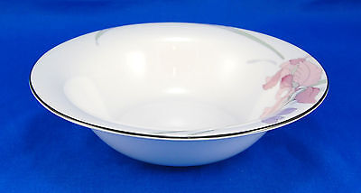 Noritake New Decade CAFE DU SOIR 9091 Rimmed Cereal Bowl 7 in. Gray Band Flowers
